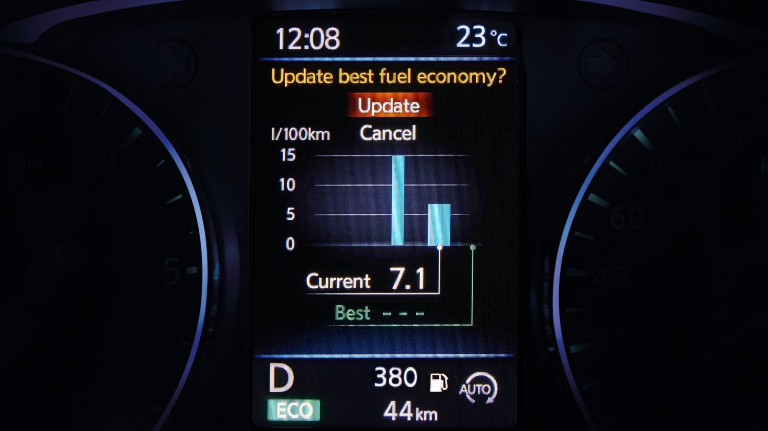 Qashqai TFT screen average consumption