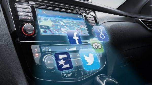 Console NissanConnect QASHQAI con icone delle app