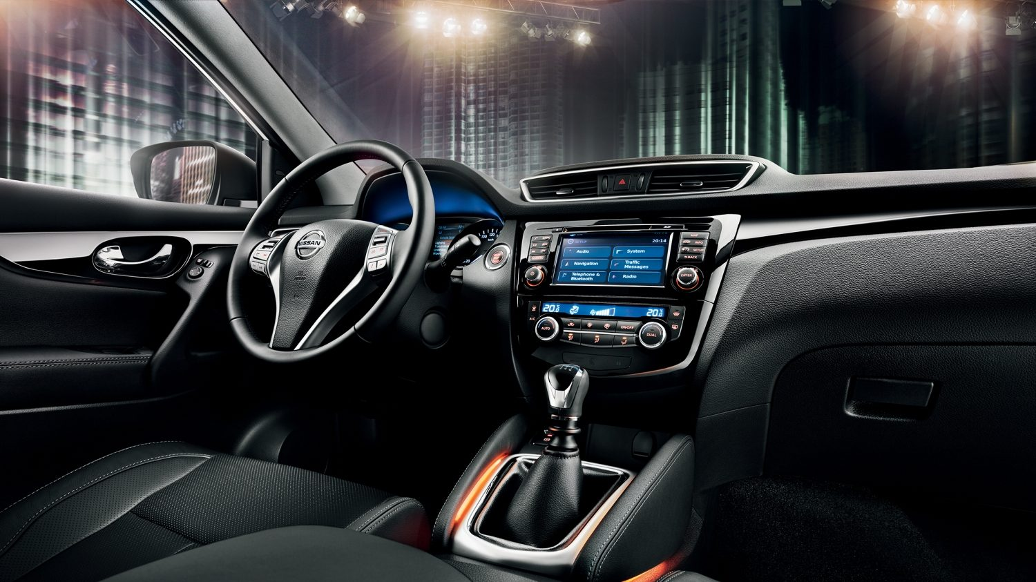 The Qashqai Black Edition's interior with bespoke entry guards.