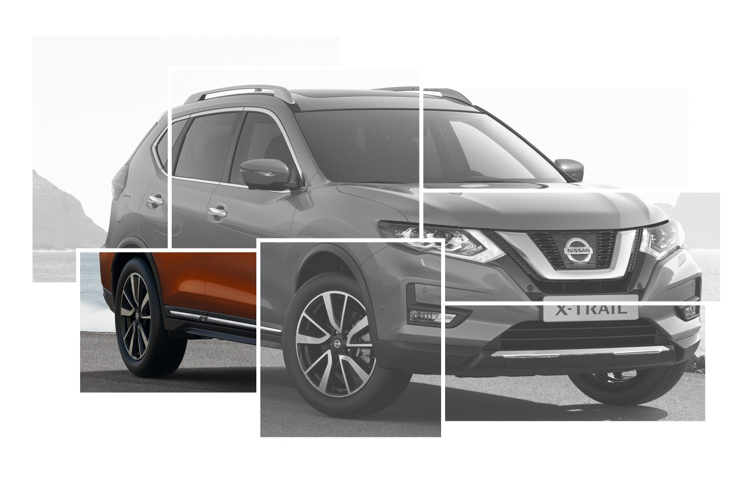X-Trail Exterior Design collage focus on chrome side door sills