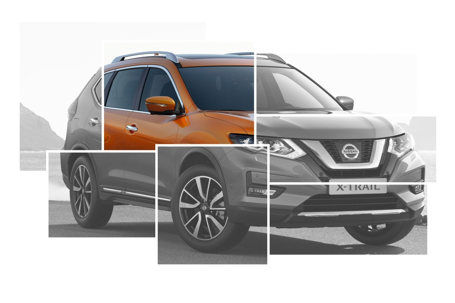 X-Trail Exterior Design collage focus on auto-folding mirrors