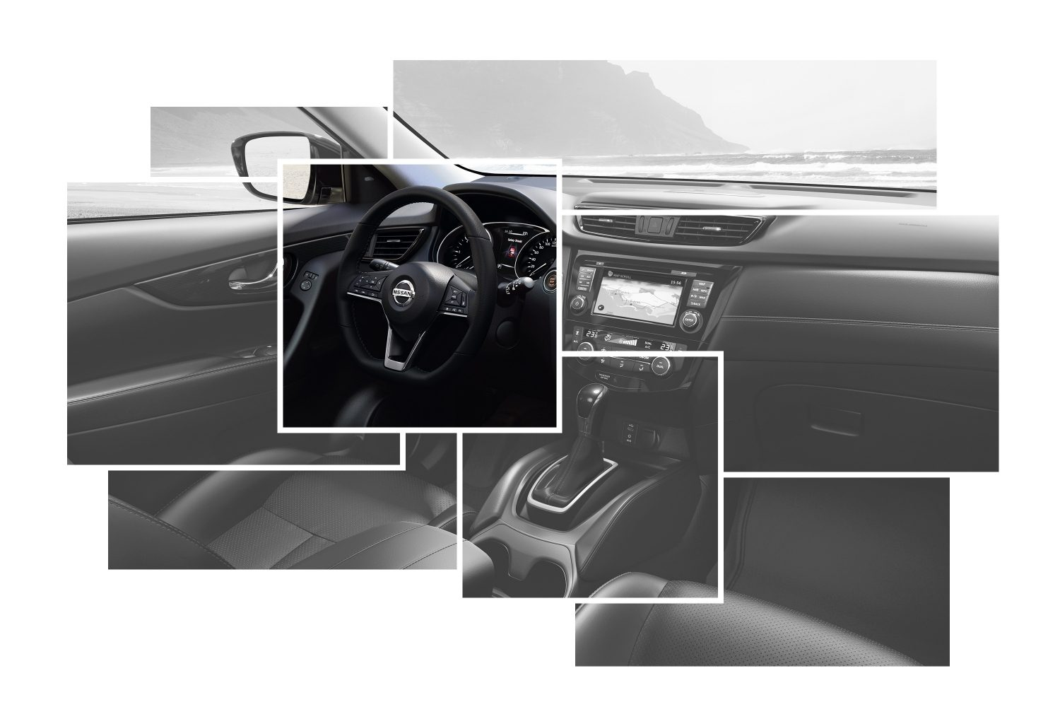 X-Trail Interior Design collage focus on heated steering wheel
