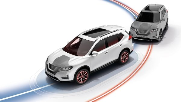 Illustrasjon av Nissan X-TRAILs intelligente sporingskontroll