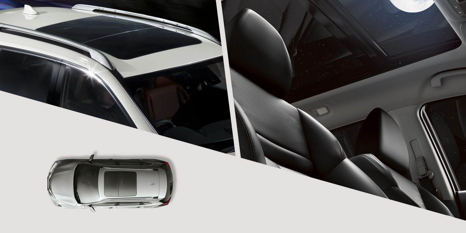 X-Trail 2017 Panoramic Moonroof collage interior exterior and top view
