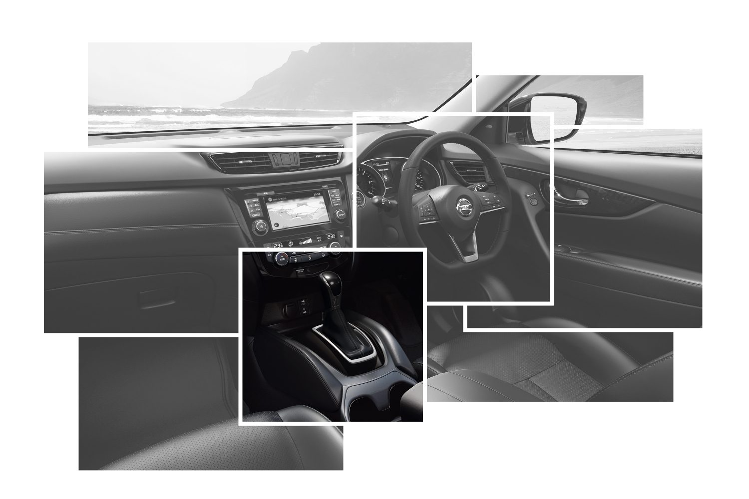 X-Trail Interior Design collage focus on leather shift boot