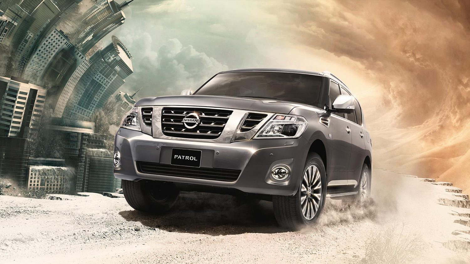 2018 NISSAN PATROL driving on a desert road