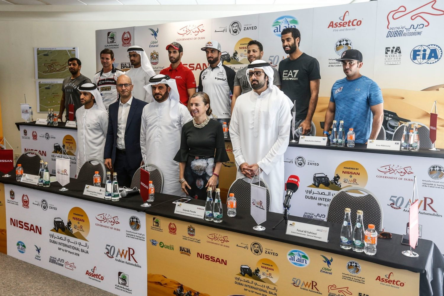 Back row (L-R): Abdulla Bin Dakhan, Shannon O'Connor, Mansour Al Helei, Sheikh Khalid Al Qassimi, Mohammed Al Balooshi, Yasir Seaidan, Abdulla Al Heraiz, Essa Al Dossary | Front row (L-R): Tariq Ahmed Al Wahedi, CEO, Agthia Group PJSC&#x3b; Salah Yamout, Director of Sales & Marketing for Nissan, Infiniti & Renault - ‎Arabian Automobiles&#x3b; Mohammed Ben Sulayem, President of the ATCUAE and Emirates Motor Sport Federation&#x3b; Yolande Pineda - Director Corporate Communications Nissan Middle East&#x3b; Faisal Al Sahlawi, General Manager, Dubai Autodrome