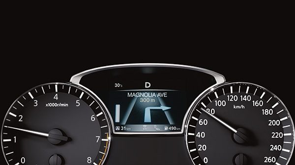 Nissan Altima driver display showing turn-by-turn navigation