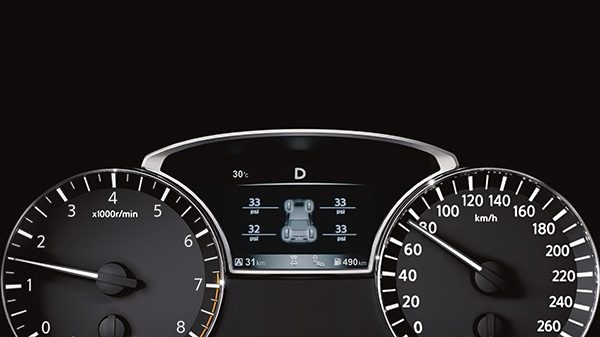 Nissan Altima driver display showing Tire Pressure Monitoring System