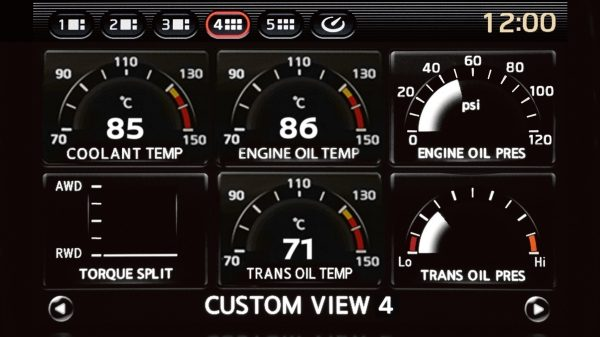 Nissan GT-R Multifunction Displays Coolant, Oil, and Transmission Fluid Temperatures.