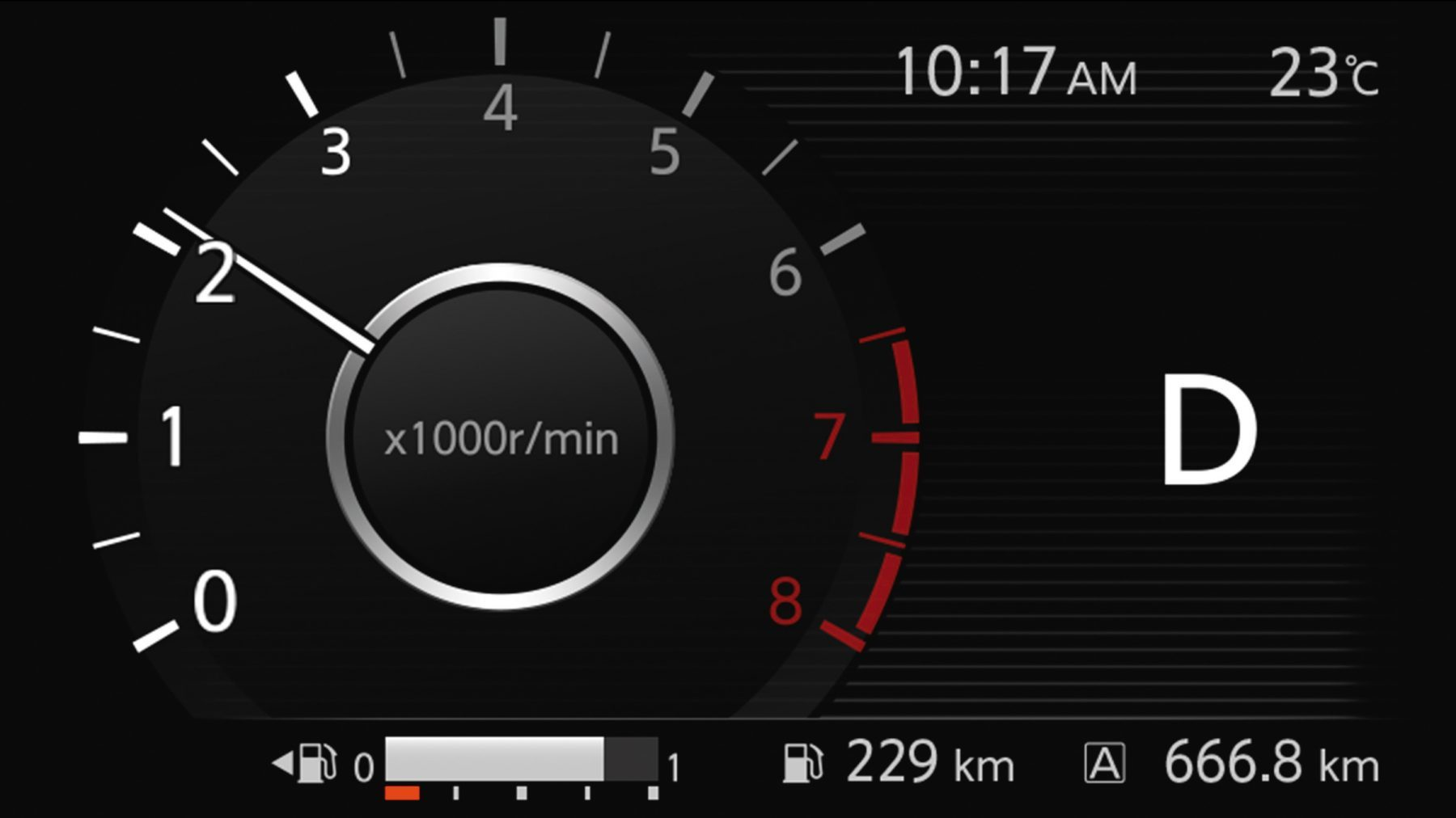 Nissan Kicks in-gauge digital tachometer display