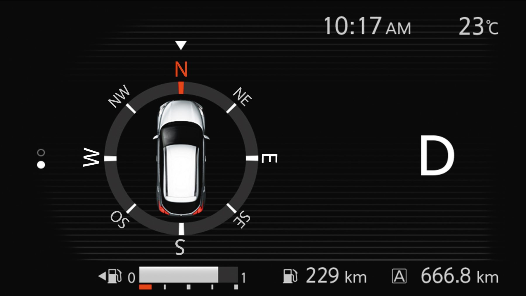 Nissan Kicks in-gauge compass display