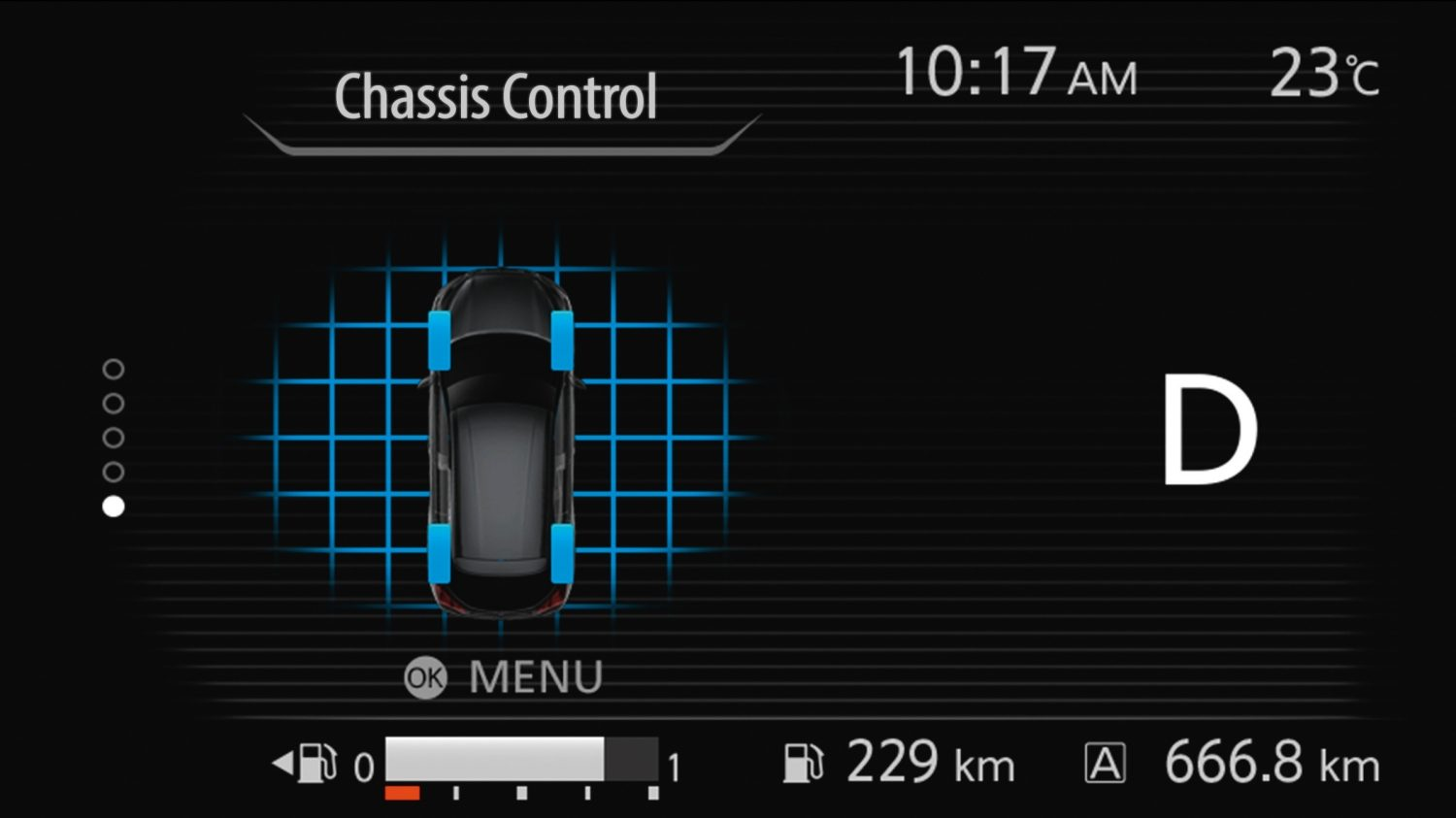 Nissan Kicks in-gauge chassis control display