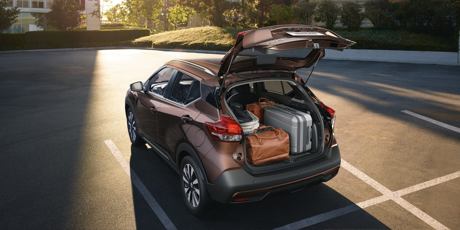 Nissan Kicks rear cargo area with luggage