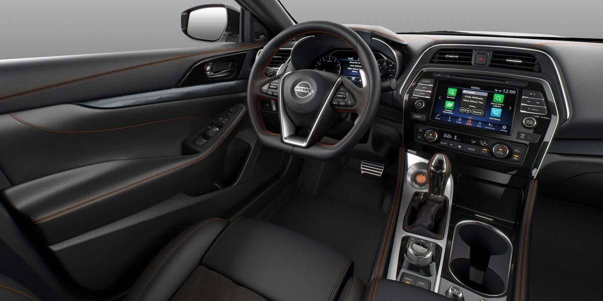 Nissan Maxima interior Charcoal Leather with Alcantara® Inserts