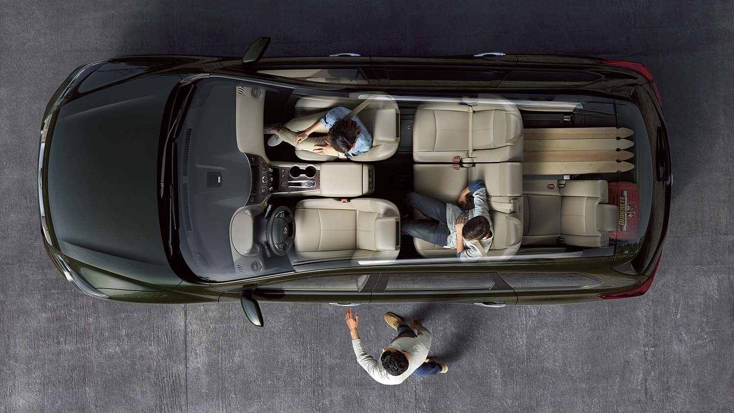 Nissan Pathfinder interior seating configuration showing one side of third row down