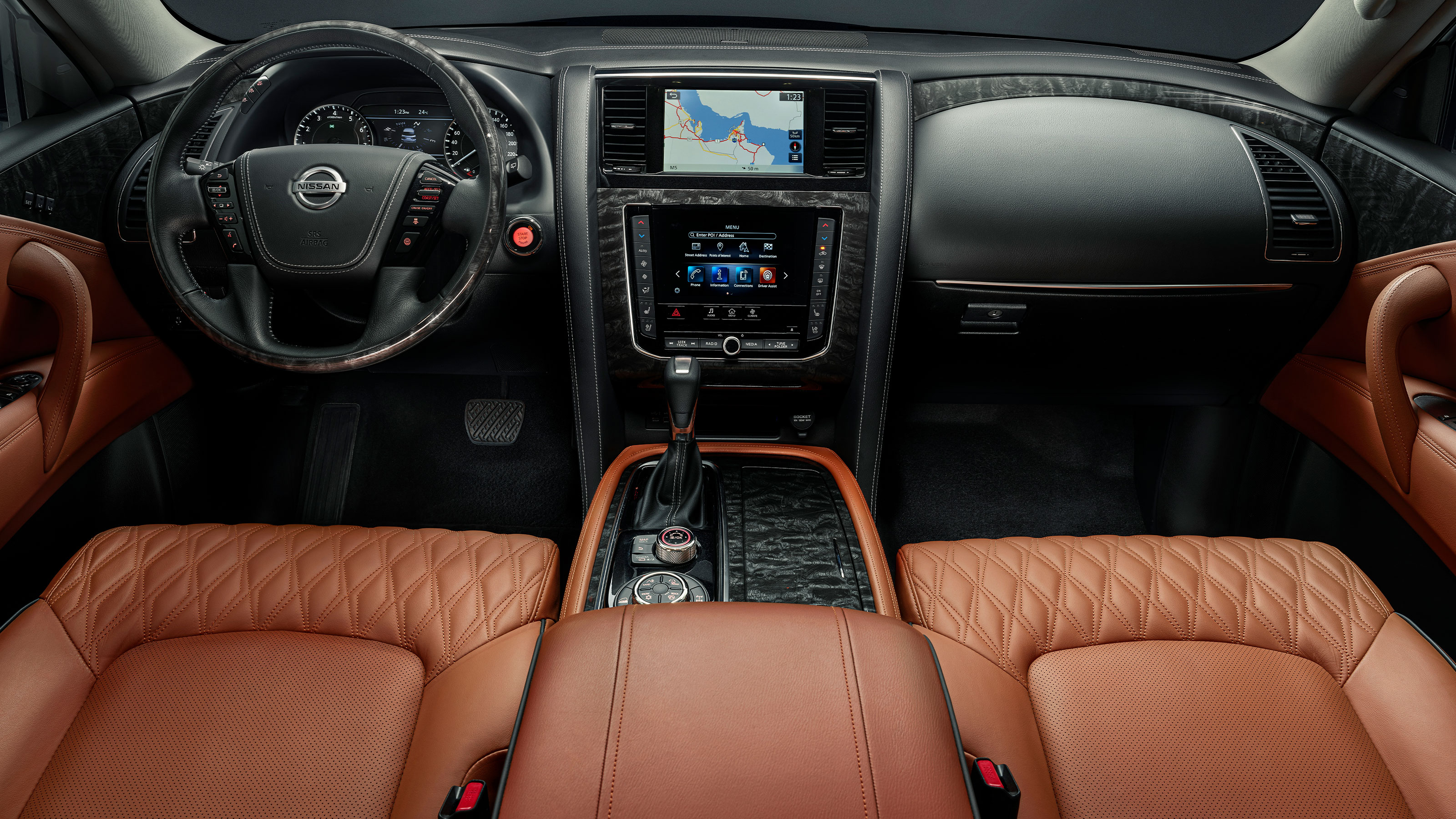 2020 NISSAN PATROL interior cockpit and screens