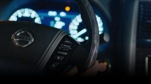 2020 Patrol Nissan SUV steering wheel closeup