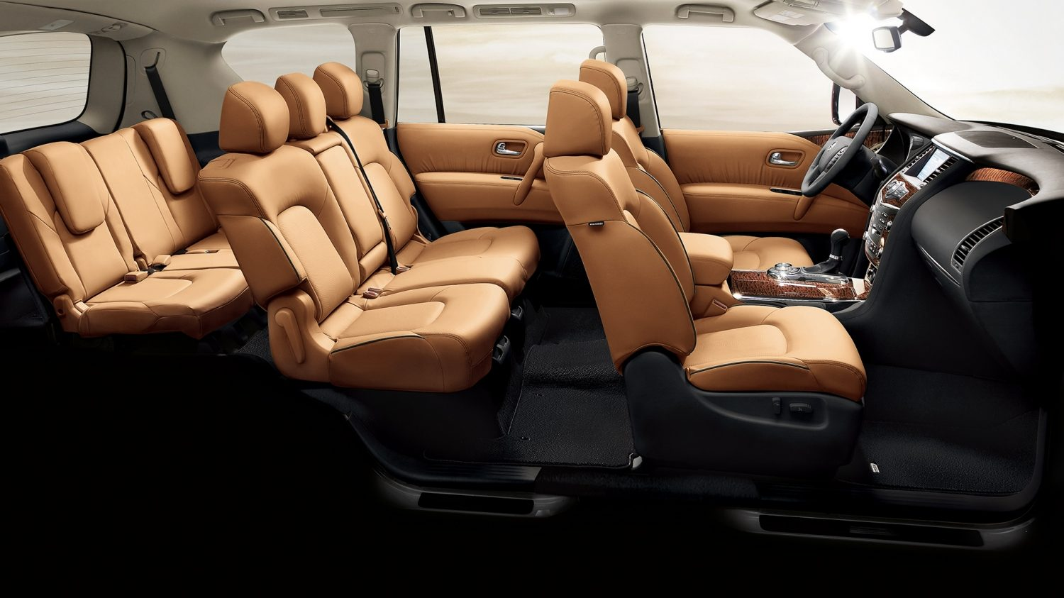 SUV interior panoramic shot - tan leather