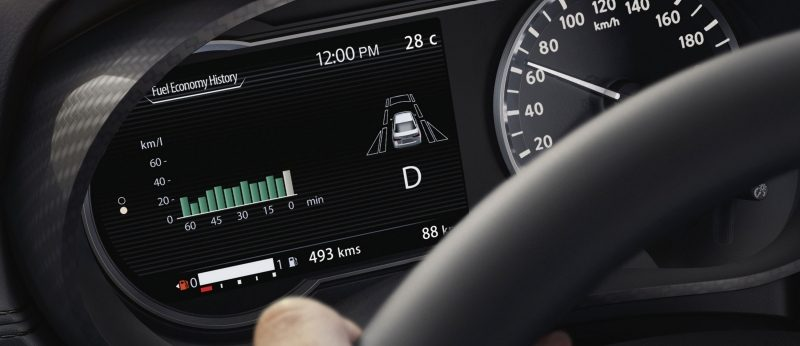 Nissan SUNNY Advanced Drive Assist Display showing fuel economy