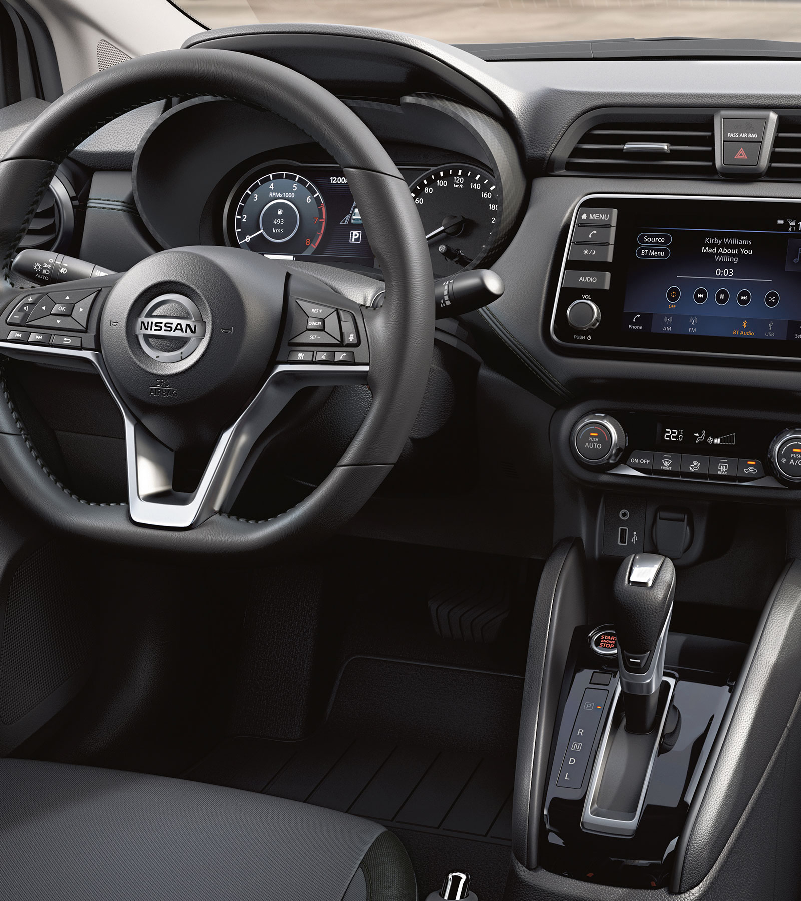 2020 Nissan Sunny D-Shaped Steering Wheel