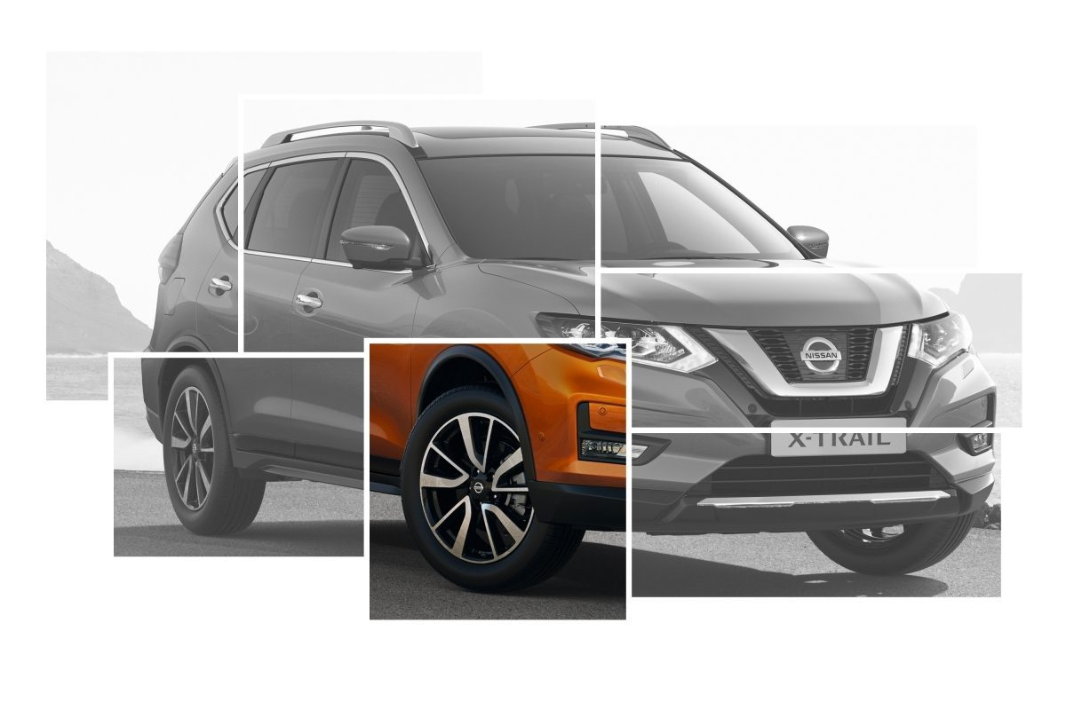 "X-Trail Exterior Design collage focus on 19"" aluminium alloy wheels"