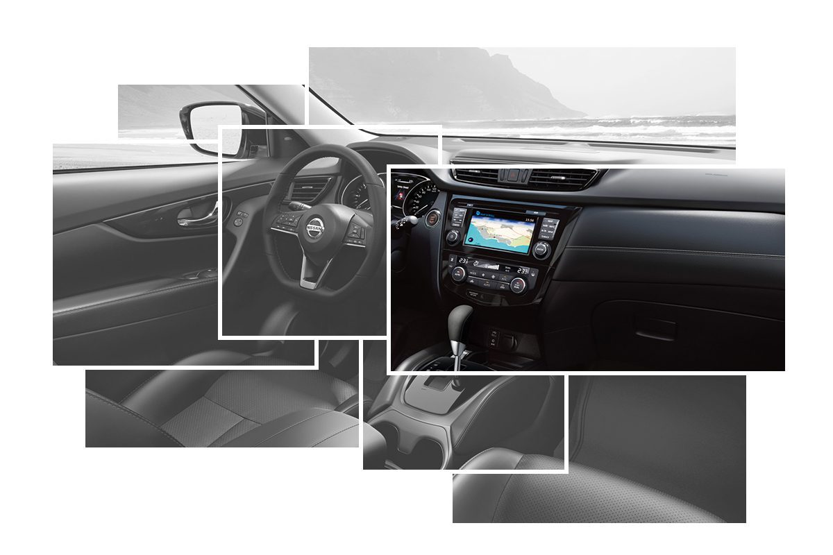X-Trail Interior Design collage focus on central console
