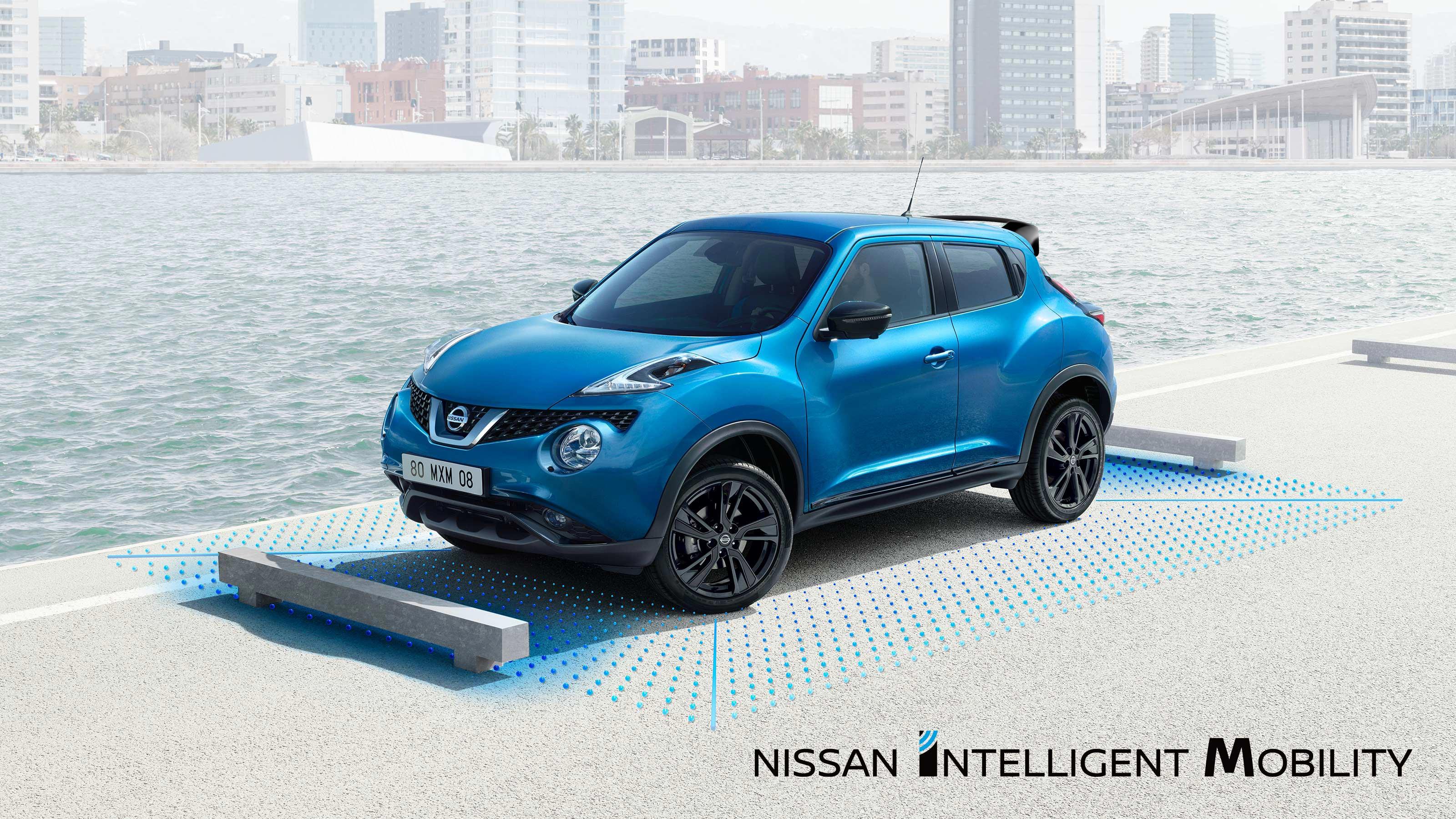 Новый Nissan JUKE в движении, вид сзади с поворотом на7/8