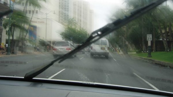Worn windshield wiper blade performance.