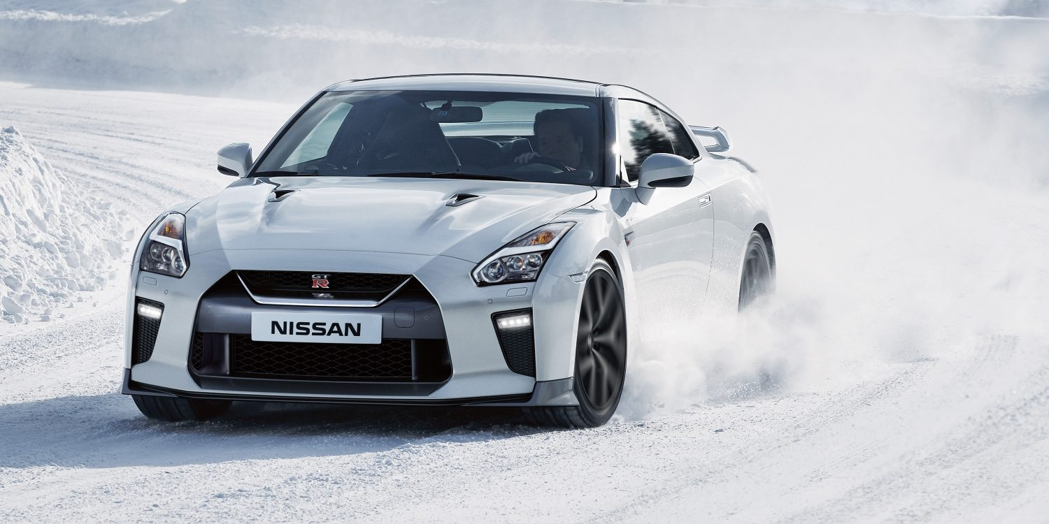 Nissan GT-R driving in snow