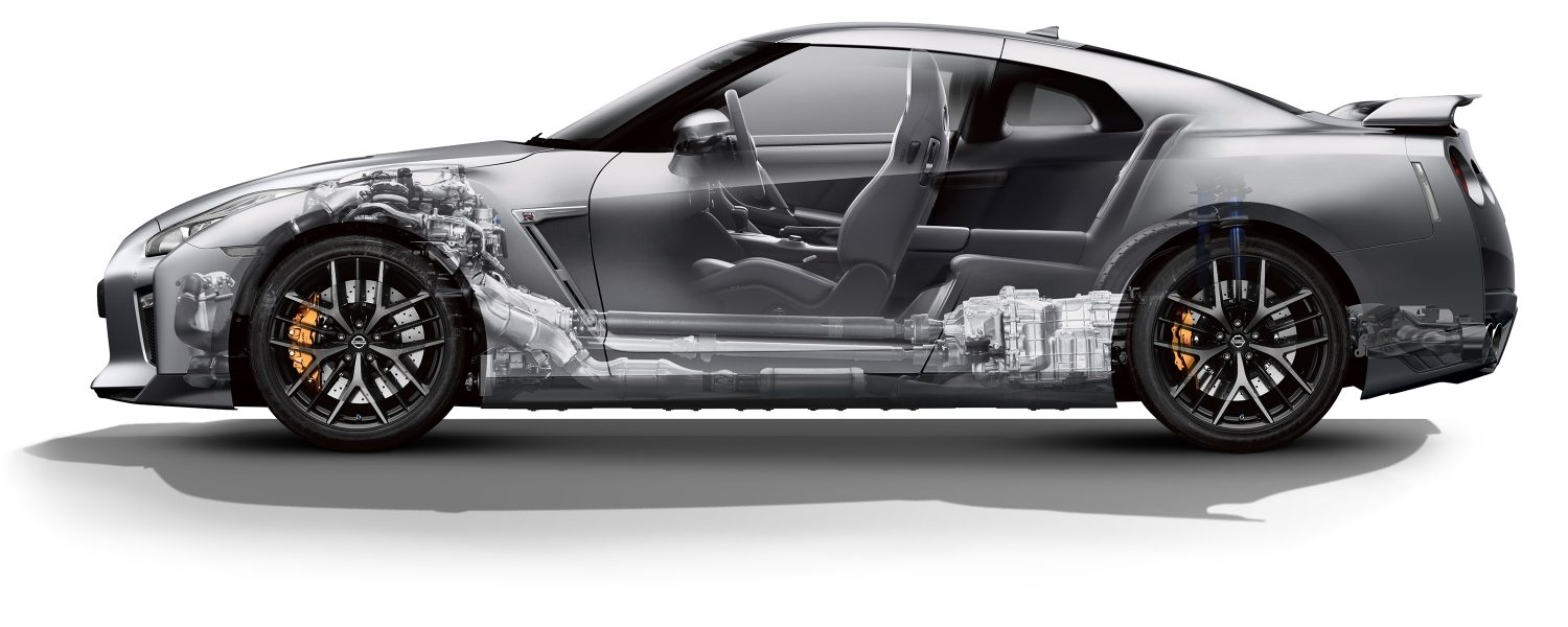 Nissan GT-R body cutaway illustration