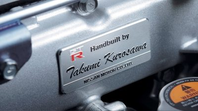 Nissan GT-R engine plaque bearing builder's name