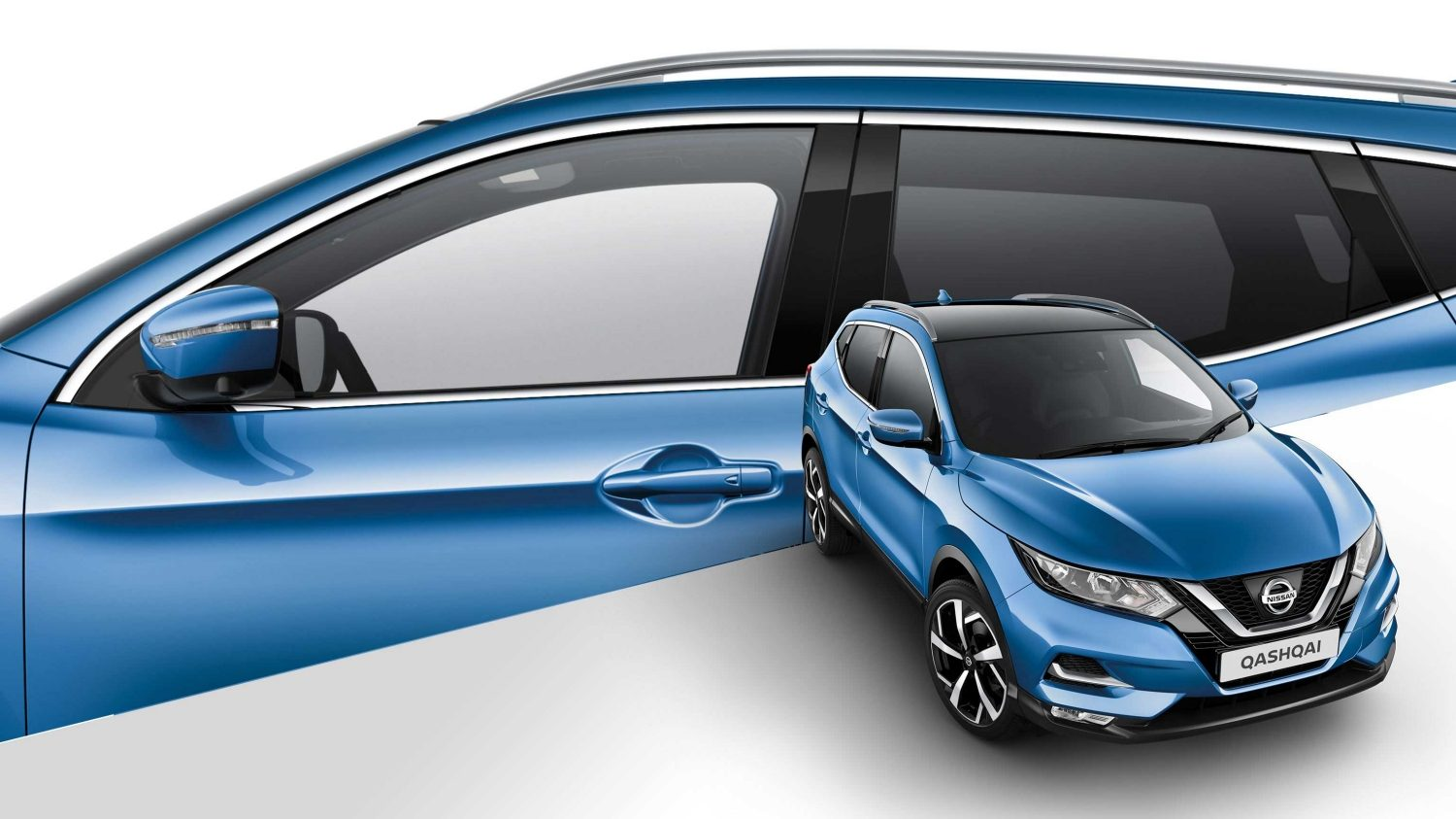 Qashqai collage 3/4 front and profile detail of mirror cap